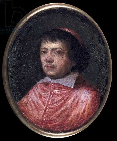 Portrait of Jean Francois Paul de Gondi (Jean-Francois-Paul de Gondy) (1614-1679) Cardinal de Retz, Coadjutor of the Archeveque of Paris, Cardinal in 1651 Miniature painting of the 17th century. Chantilly, Conde Museum