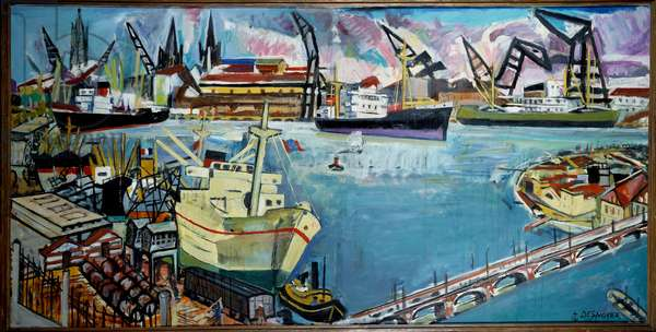 The Port of Bordeaux, 1952 (oil on canvas)