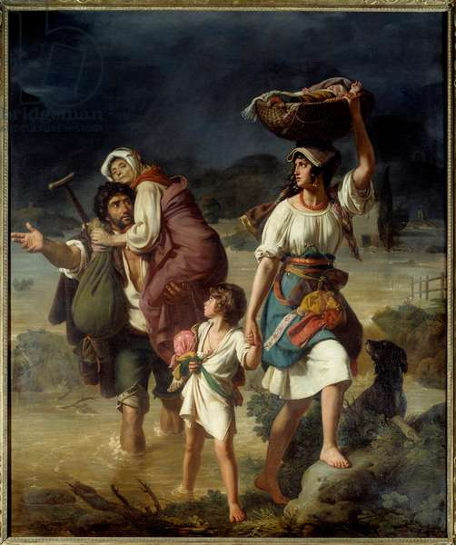 A family of Contadini surprised by a speedy overflow of the Tiber escapes through the waters, called peasants of the Roman countryside fleeing a flood. Painting by Victor Schnetz (1787 - 1870), 1831. Oil on canvas. Dim: 2 x 2.45m. Rouen, Musee des Beaux Arts.