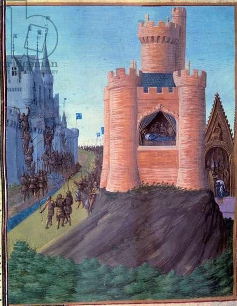"""Siege d'Avignon (1226). Death of Louis VIII. Coronation of Saint Louis (Louis IX). Miniature in """""""" Grandes Chronicles de France"""""""" (251v) by Jean Fouquet, 15th century. BN, Paris"""