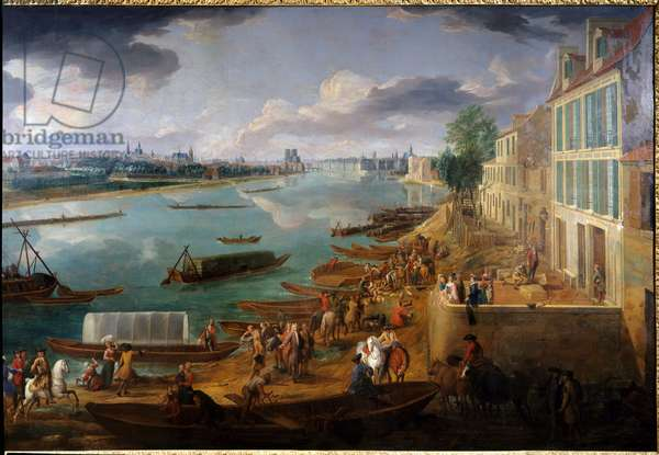 View of Paris, taken from the Quai de la Rapee in 1716 Detail of boats on the Seine and activities. Painting by Pierre Denis Martin (1663-1742) 1716 Sun. 1,7x3,15 m Paris, Musee Carnavalet.