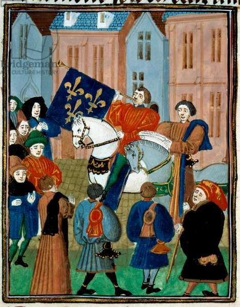 """Proclamation of Peace in Reims on 2 October 1435 after the signing of the Treaty of Arras between King Charles VII and the Duke of Burgundy Philip III the Good ending the civil war between the Armagnacs and the Burgundians. Miniature from """""""" Kings and queens of France and people of different quality design after the Monuments. Volume VI, Regne de Charles VII du 1422 à 1461"""" by Enguerrand de Monstrelet (1400-1453) 15th century Paris, B.N. - Proclamation of Peace in Reims, the October 2, 1435 after the signing of the Treaty of Arras between Charles VII and the Duke of Burgundy Philip III the Good ending a civil war between Armagnacs and Burgundians. Miniature taken from """""""" Kings and Queens of France and people of different qualities... """""""", 1422-1461 by Enguerrand de Monstrelet (1400-1453), 15th century, National Library of Paris"""