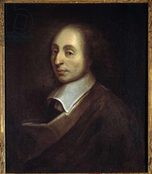 Portrait of Blaise Pascal (1623-1662) (h s/t 0.70 x 0.56) by Francois Quesnel (1637-99) .