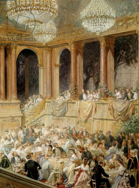 Reception gives to the tuileries by Napoleon III. Watercolour by Henri Baron (1816-1885), 19th century. Compiegne, Musee National Du Chateau