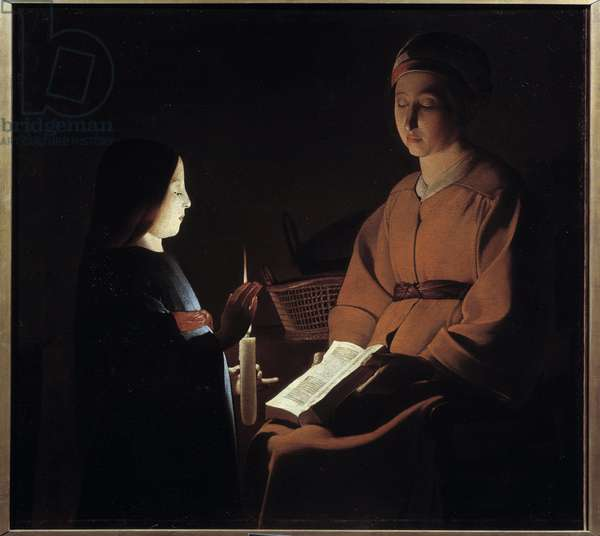 Education of the virgin. Painting by Georges De La Tour (1593-1652), 17th century. Oil on canvas. Dim: 0,88 x 1,03m. Paris, Musee Du Louvre - Education of the Virgin. After a painting of Georges de La Tour (1593-1652), 17th century. Oil on canvas. 0.88 x 1.03 m. Louvre Museum, Paris