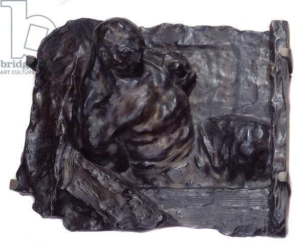 """Social Realism: """""""" The Human Machine"""""""" Bronze relief by Bernhard Hoetger (1874-1949) 1902 Paris, Musee d'Orsay"""