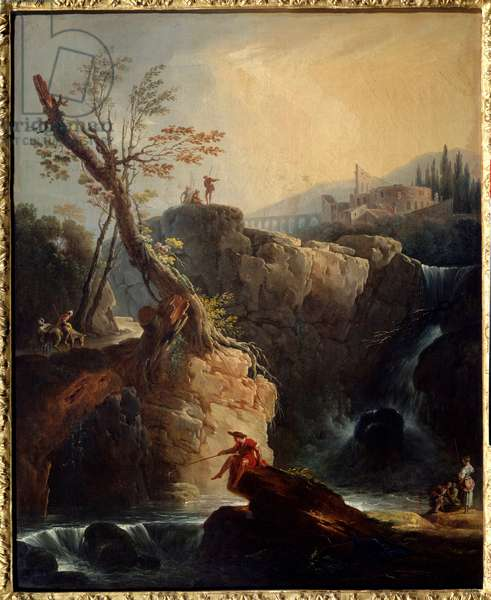 The waterfall Painting by Joseph Vernet (1714-1789) 1773 Sun. 0,75x0,6 m Rouen, Musee des Beaux Arts.