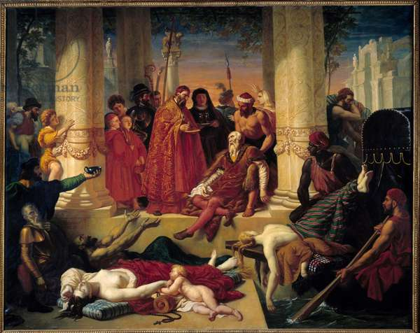 Death of Titian (1490-1576), August 27, 1576 The death of the Italian painter Tiziano Vecellio in Venice during an epidemic of plague. Painting by Pierre Bergeat (19th century) 1832 Montargis, Musee Girodet