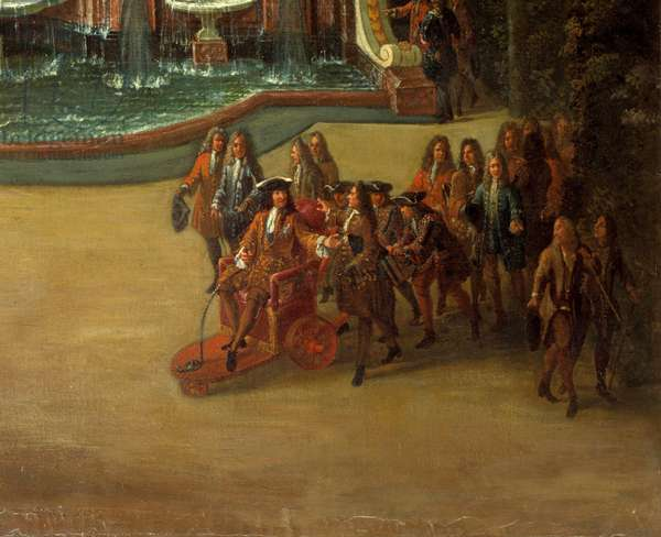 View of the fountain of the Water Buffet in the gardens of the Grand Trianon in 1713. In the foreground: Louis XIV has the Promenade Detail representing the King of France Louis XIV (1638-1715), sitting on a wheelchair, walking through the Parc de Versailles. Painting by Charles Chatelain, 18th century. Dim. 2,96x1,42 m. Versailles, Castles of Versailles and Trianon