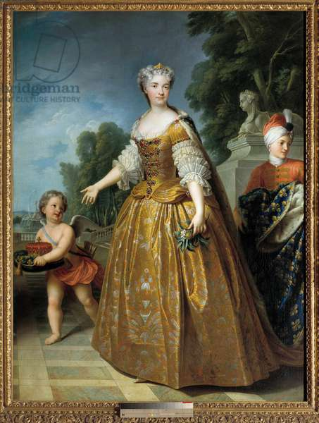 Portrait of Mary Lesczinska (or Lesczynska, 1703 - 1768) Queen of France. Painting by Francois Stiemart (1680 - 1740), circa 1725. Oil on canvas. Dim: 1,98 x 1,47m.  - Full-length portrait of Mary Lesczinska (or Lesczynska, 1703-1768) Queen of France. Painting by Francois Stiemart (1680 - 1740), ca 1725. Oil on canvas. 1.98 x 1.47 m.