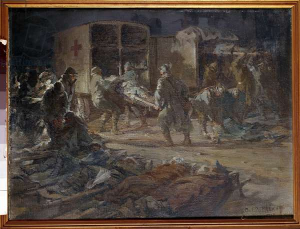 Removal of first-line wounded by self-sanitation. Painting by Paul Prevot (1879-?) , 1914. Paris, Musee Du Val De Grace.