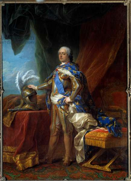 Portrait in foot of Louis XV (1710 - 1774) king of France. Painting of the workshop of Carle Van Loo (1705 - 1765), 1751. Oil on canvas. Dim: 2.71 x 1.93m. Versailles, Musee Du Chateau