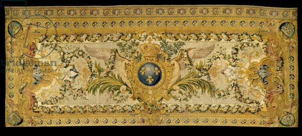 Louis XV furniture: carpet of the grandstand of the royal chapel of Versailles. Made by the manufacture of Chaillot. 1759 Versailles, museum of the chateau.