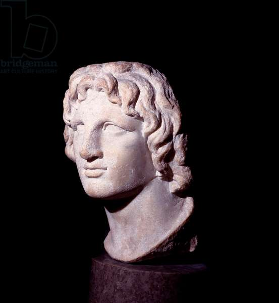 Marble head of the king of Macedoine Alexander the Great (356-323 BC) - Roman Art - London, The British Museum