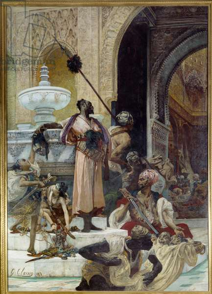 The massacre of abencerations. The Abencerages (Moorish tribe of the kingdom of Granada in the 15th century) were exterminated by Boabdil dit Zoghbi (1452-1528). Painting by Georges Jules Victor Clairin (1843 - 1919), 1874. Rouen, Museum of Fine Arts
