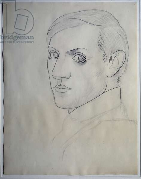Self-Portrait Drawing with Lead and Charcoal by Pablo Picasso (1881-1973) 1917-1919. Dim. 0,64 x 0,49 m Paris. Picasso Museum