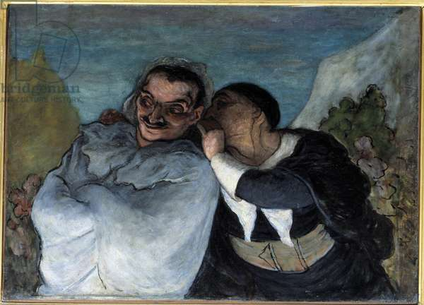 """Crispin and Scapin also says Scapin and Silvestre. The two characters in Moliere's play """"Les fourberies de Scapin"""""""" confidences in their ear. Painting by Honore Daumier (1808-1879). 1864 Sun. 0,60 x 0,82 m Paris Musee d'Orsay - Crispin and Scapin also called Scapin and Sylvestre.The two characters of the play """""""" The Tricks of Scapin"""""""""""" by Moliere exchanging confidences. Painting by Honore Daumier (1808-1879), 1864. 0.60 x 0.82 m. Orsay Museum, Paris"""