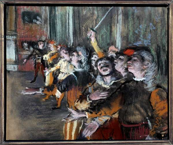 Pastel extras or chorists on monotype by Edgar Degas (1834-1917) 1877 Sun. 0,27x0,32 m Paris, musee d'Orsay