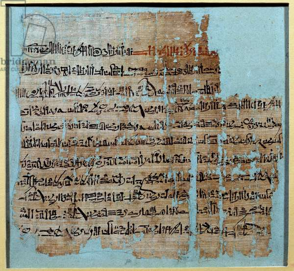 Egyptian Antiquity: Papyrus from the story of the Battle of Qadesh under the reign of Ramses II (1246-1213) In 1274 BC, the Hittite Empire, whose center was in Anatolia, and Ramessid Egypt. Sun 0,2x0,23 m Paris, musee du Louvre