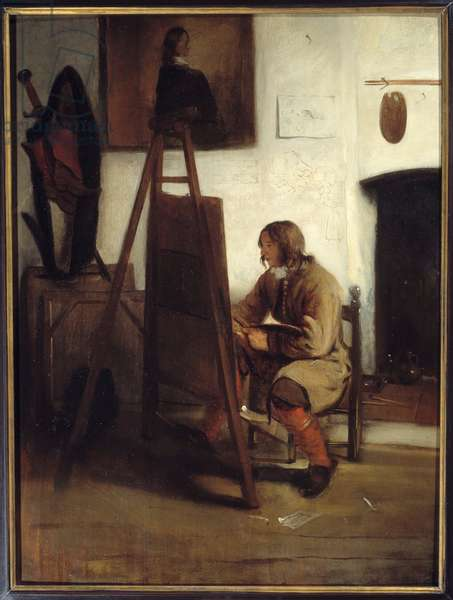 A young painter in his workshop Painting by Barent Fabritius (1624-1673), 1665