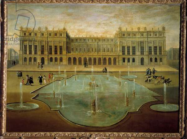 View of the castle of Versailles from the side of the gardens before 1678 Anonymous painting of the French School. 17th century Sun. 1,36 x 1,54 m