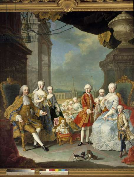 The Emperor Francois I (1708-1765) and Imperial Mary Therese (1717-1780) represented in Schoenbrunn surrounded by their twelve children Painting of the workshop of Martin Van Mytens II (1695-1770) 1756 Sun. 1,9x1,8 m.