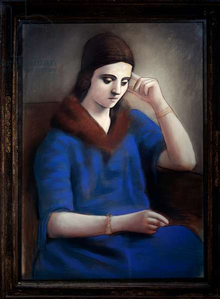Portrait of pensive Olga. Pastel and black pencil. Dim: 1,04 x 0,71m. Painting by Pablo Picasso (1881-1973), 1907. Paris, Musee Picasso