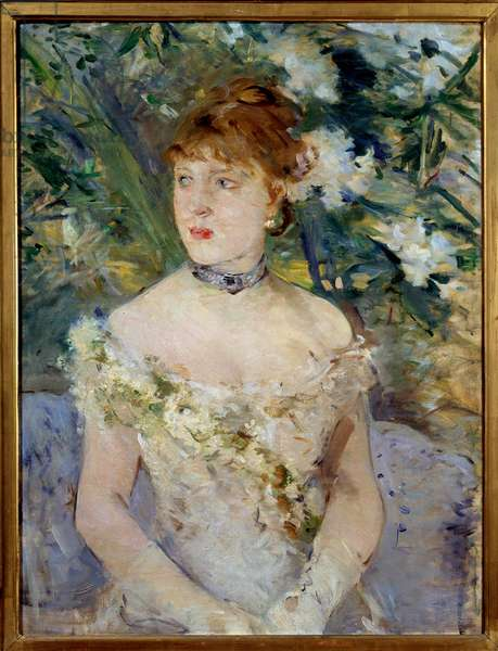 Young Woman in Ball Toilet Painting by Berthe Morisot (1841-1895) 1879 Sun. 0,71x0,54 m Paris, musee d'Orsay
