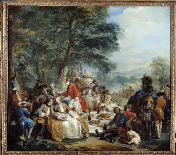 Hunting stop A picnic of nobles during a hunting game. Painting by Charles Andre Van Loo (1705-1765) 18th century Sun. 2,2x2,5 m.