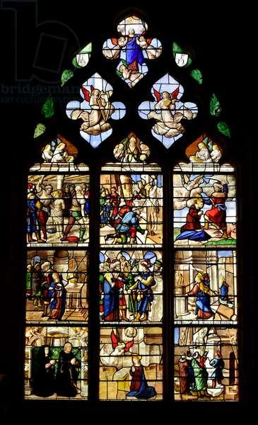 Episodes of the life of Saint Barbe, Christian martyrdom in the 3rd century, stained glass window with the life of Saint Barbara, 16th Century - Chapel Sainte Barbe (Sainte-Barbe) of the Church Collegiale Notre-Dame de Semur-en-Auxois (Notre Dame de Semur en Auxois), Burgundy