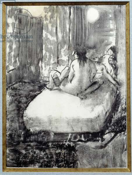 On the bed Monotype in black ink on Chinese paper by Edgar Degas (1834-1917) 1880 Dim. 0,16x0,11 m Paris, Musee Picasso