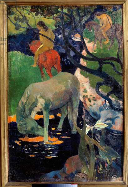 Le cheval blanc Painting by Paul Gauguin (1848-1903) 1898 Sun. 1,4x0,91 m Paris, musee d'Orsay - The White Horse. Painting by Paul Gauguin (1848-1903) 1898. 1.4 x 0.91 m. Orsay Museum, Paris