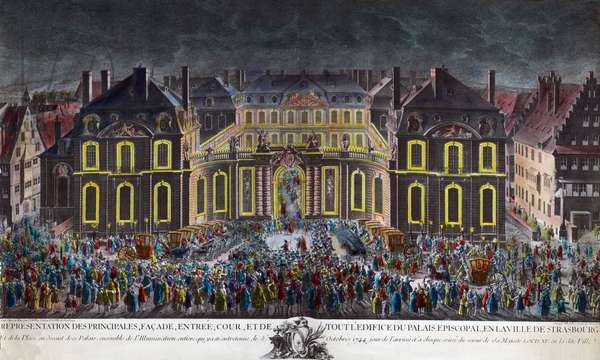 Illuminations of the episcopal palace of the city of Strasbourg during the celebrations given by the city during the stay of King Louis XV (1710-1774) in convalescence following a serious illness on 5/10/1744. Period Print Private Collection