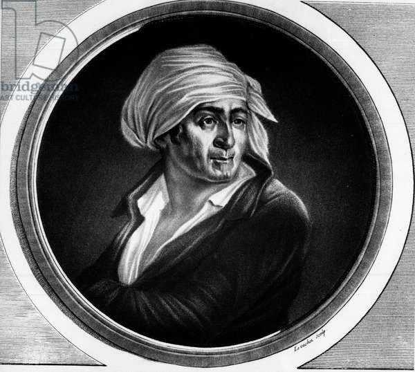 "Portrait of Jean Paul Marat (1763-1793). Engraving in """" Complete collection of historical paintings of the French revolution, in three volumes."""""" 1804."