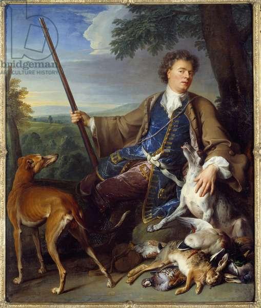 Self-portrait. Portrait of the artist as a hunter. Painting by Francois Desportes (1661-1743), 17th century. Oil on canvas. Dim: 1,97 x 1,63m. Louvre Museum
