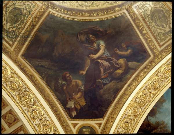 The death of Pliny the Elder (23-79 AD) during the eruption of the Vesuve Painting by Eugene Delacroix (1798-1863) decorating the dome of the Bibliotheque of the National Assembly, 1843 Paris, Palais Bourbon
