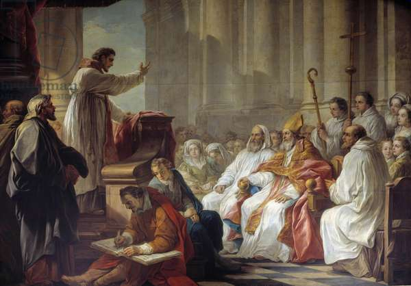 The predication of Saint Augustine (354-430) before Valere, eveque of Hippone Painting by Carle Van Loo (1705-1765) 18th century Paris. Church of Our Lady of Victories