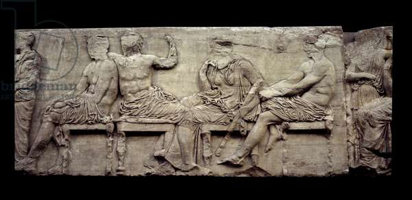 Greek art: banquet scene, low relief marble from the Parthenon of Athenes. London, British museum.
