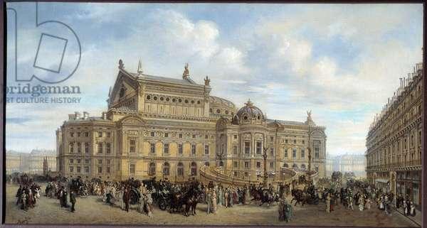 View of the Opera Garnier, from rue Auber around 1880 Painting by Leonard Saurfelt (did 1840) 1880 Sun. 0,49x0,91 m Paris, Musee Carnavalet