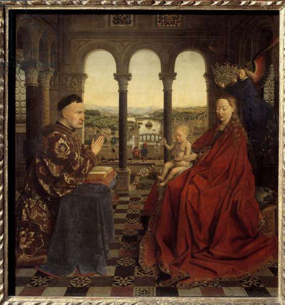 The Virgin of Chancellor Rolin Nicolas Rolin (1376-1461) was Chancellor of Burgundy under Philippe Le Bon and founder of the Hospices de Beaune in 1443. Painting by Jan van Eyck (1390-1441). 15th century Sun. 0,66x0,62 m Paris,  - The Virgin of Chancellor Rolin. Nicolas Rolin (1376-1461), Chancellor of Burgundy under Philip the Good and founder of the Hotel-Dieu Hospital at Beaune in 1443. Painting by Jan van Eyck (1390-1441). 15th century. 0.66 x 0.62 m. Louvre Museum, Paris