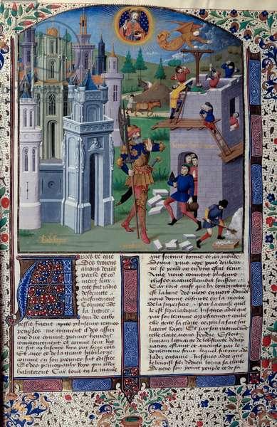 "Representation of the construction of the Tower of Babel a Babylon Miniature from """" Chronique dit de la Bouquechardiere par Jean de Courcy"""" by the Master of the Echevinage of Rouen (15th century) 1475-1500 Paris, B.N."