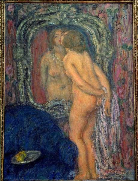 Self-love. Painting by Edmond Francois Aman Jean (Aman-Jean, Amand Jean, Aman-Jean, 1860-1936), 20th century. Lyon, Musee des Beaux Arts.