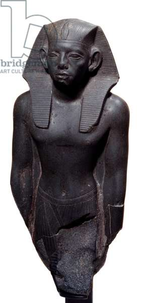 Art Egypt: statue of King Amenemhat III headdress of the Nemes. Schist sculpture, circa 1830 BC, 12th dynasty (ca. 1963-1786). Paris, Musee Du Louvre