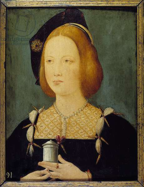 Mary Tudor, Queen of France - Portrait of Mary Tudor of England (1496-1534) third wife of Louis XII. Anonymous 16th century painting. Paris, Decorative Arts