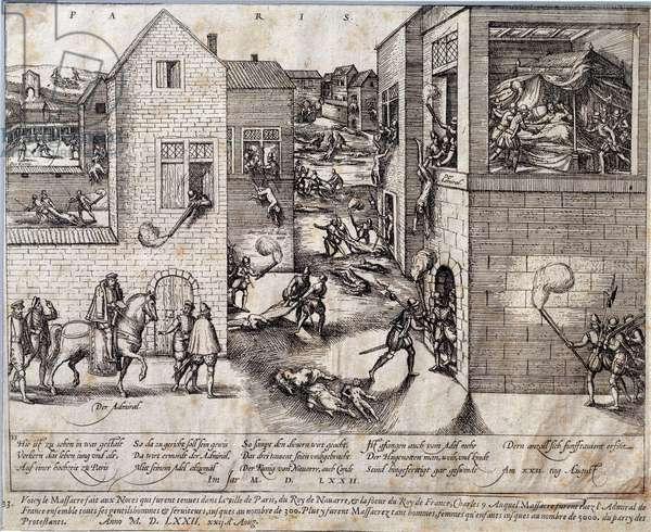 Massacre of Saint Barthelemy (Saint Barthelemy) in Paris on the night of 24 August 1572. Engraving of the 16th century. Pau, Musee Du Chateau