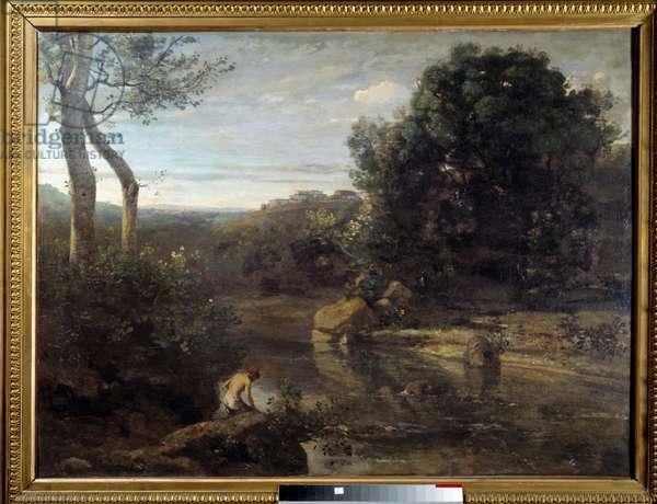 The Shepherd's Bath Painting by Camille Corot (1796-1875) 1848 Sun. 0,87x1,17 m Douai, Musee de la Chartreuse