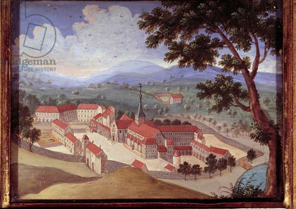 Perspective view of the abbey of Port royal des champs. View of the convent of Port-Royal-des-Champs). Anonymous painting of the 18th century. Port Royal, Musee Des Granges.
