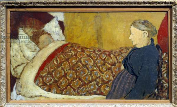 The lullaby A grandmother sings a lullaby or tells a story to a child to sleep. Carton maroufle on wood panel Parqueque d'Edouard Vuillard (1868-1940) 1896 Dim. 0,28x0,49 m Paris, musee Picasso
