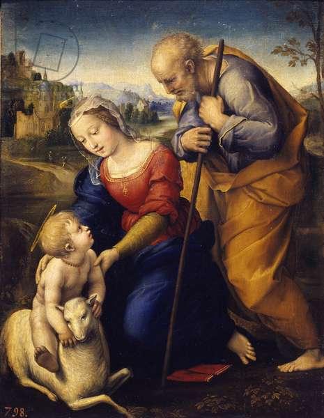 The holy family has the lamb. Painting by Raffaello Sanzio dit Raphael (1483-1520), 1507. Dim: 0,29 x 0,21m. Madrid, Musee Du Prado