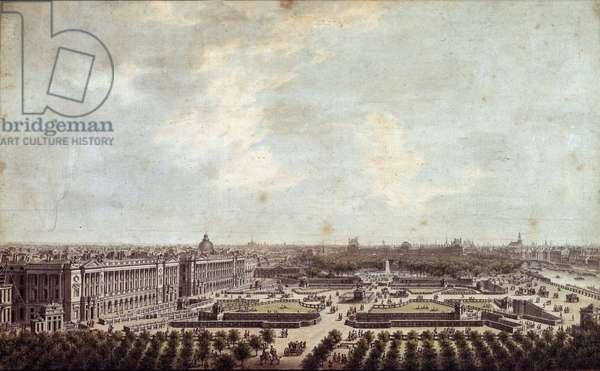 View of Place Louis XV (current Place de la Concorde in Paris Watercolour by Louis Nicolas de Lespinasse (1734-1808) 1778 Paris, Musee Carnavalet